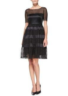 Catherine Malandrino Short-Sleeve Net-Overlay Cocktail Dress