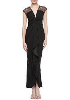 Catherine Malandrino Short Sleeve Ruffle Front Gown