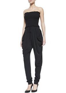 Catherine Malandrino Silk Strapless Slouchy Jumpsuit