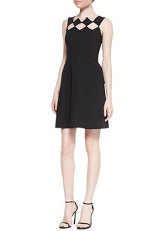 Catherine Malandrino Sleeveless Diamond Bodice Fit & Flare Dress, Noir
