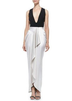 Catherine Malandrino Sleeveless Gown W/ Draped Ruffle Skirt