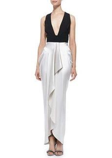 Catherine Malandrino Sleeveless Gown W/ Draped Ruffle Skirt