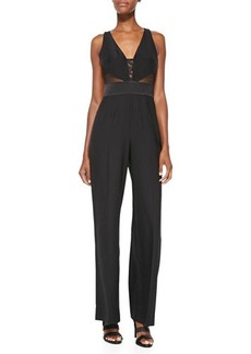 Catherine Malandrino Sleeveless Jumpsuit W/ Mixed Media Bodice