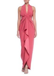 Catherine Malandrino Sleeveless Ruffle-Front Gown, Fuchsia