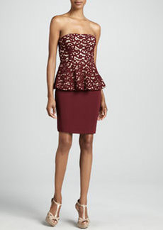Catherine Malandrino Strapless Lace Peplum Cocktail Dress