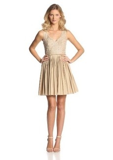 Catherine Malandrino Women's Elli Sleeveless Pleated Dress with Lace Detail, Sand, 4