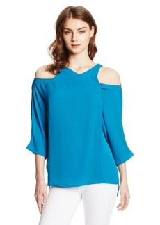 Catherine Malandrino Women's Felicity Overlap Open Shoulder Silk Blouse, Ocean, Small