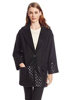 Catherine Malandrino Women's Helena Coat with Faux-Leather Embroidery