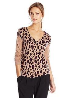 Catherine Malandrino Women's Jade Leopard Print Merino Wool Sweater