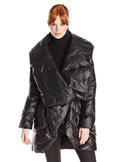 Catherine Malandrino Women's Keenan Faux-Leather Open-Front Puffer Coat