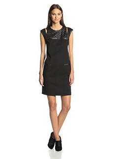 Catherine Malandrino Women's Ponte Dress with Leather Details