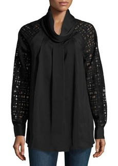 Catherine Malandrino Woven Lace-Sleeve Top