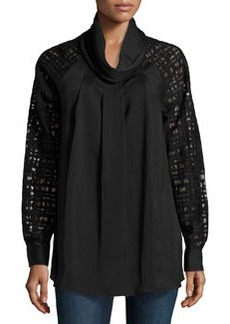 Catherine Malandrino Woven Lace-Sleeve Top, Black
