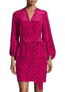 Diane von Furstenberg Lantern-Sleeve Belted Faille Dress, Alligator Pink Dahlia