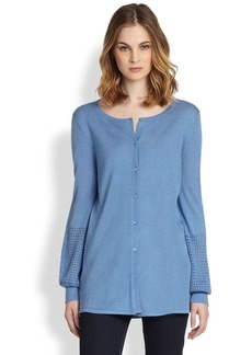 Saks Fifth Avenue Collection Eyelet-Knit Silk/Cashmere Cardigan