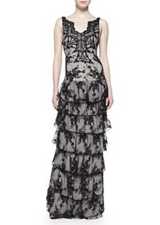 Alice + Olivia Powell Sleeveless Tiered Lace Gown
