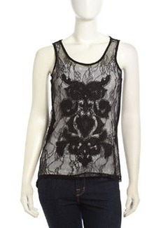 Design History High-Low Lace-Front Combo Tank, Black