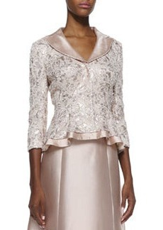 Kay Unger New York Sequin-Lace Jacket with Silk Trim