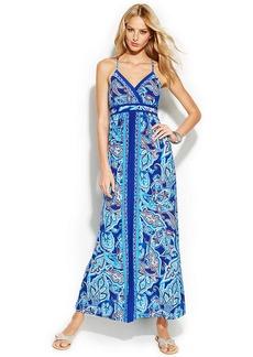 INC International Concepts Petite Embellished Sleeveless Printed Maxi Dress