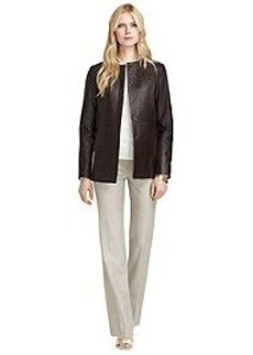 Leather Fly Front Coat