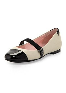 Taryn Rose Bay Nappa Leather Mary Jane Flat, Bone