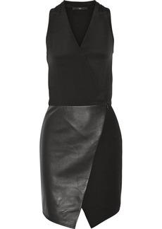 Tibi Silk, ponte and leather dress