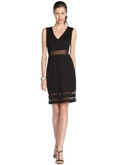 A.B.S. by Allen Schwartz black stretch cotton blend mesh accent illusion dress