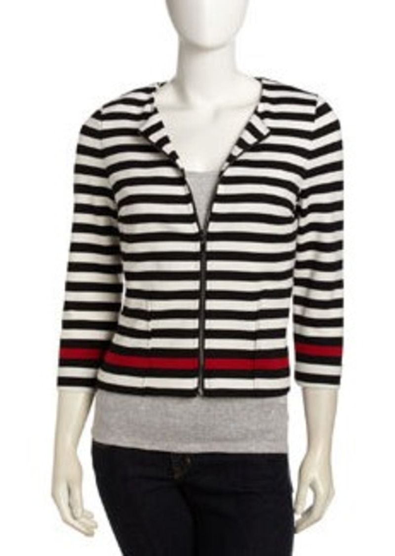 Laundry by Shelli Segal Stripe Cropped Zip Front Jacket, Parisian Red