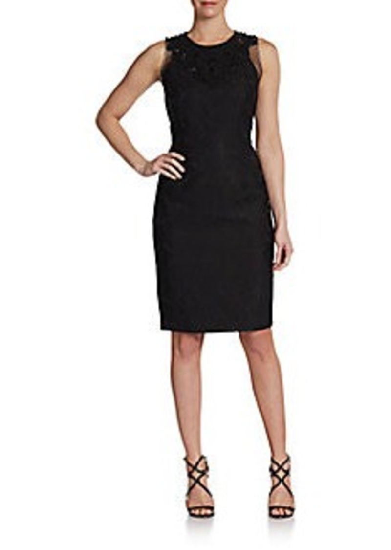 Carmen Marc Valvo Sleeveless Embroidered-Neck Dress
