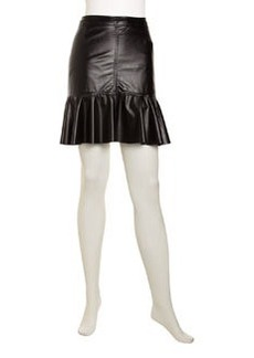 Laundry by Shelli Segal Faux-Leather Circle-Hem Skirt, Black