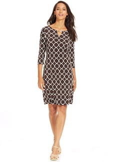 Charter Club Petite Printed Hardware Shift Dress
