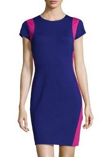 Diane von Furstenberg Cap-Sleeve Fitted Knit Dress, Ultramarine/Pink Dahlia