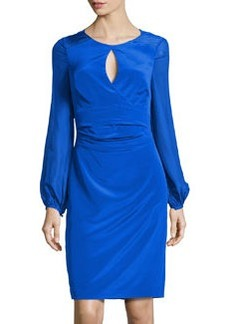 Kay Unger New York Keyhole-Front Silk Cocktail Dress, Cobalt