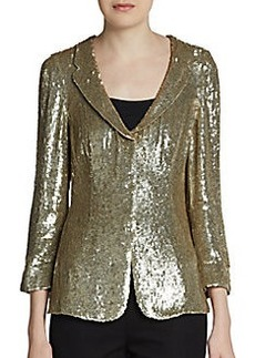 Armani Collezioni Sequin Three-Quarter Sleeve Jacket
