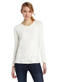Democracy Women's Long Sleeve Mixed Media Shirt with Crochet