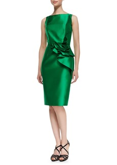 Carmen Marc Valvo Sleeveless Ruffle Waist Cocktail Dress, Kelly Green