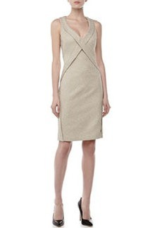 Zac Posen Sleeveless Crisscross Sheath Dress, Beige
