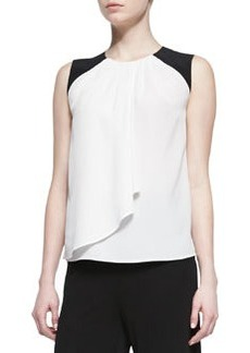 Etro Silk Colorblock-Shoulder Shirt with Drape