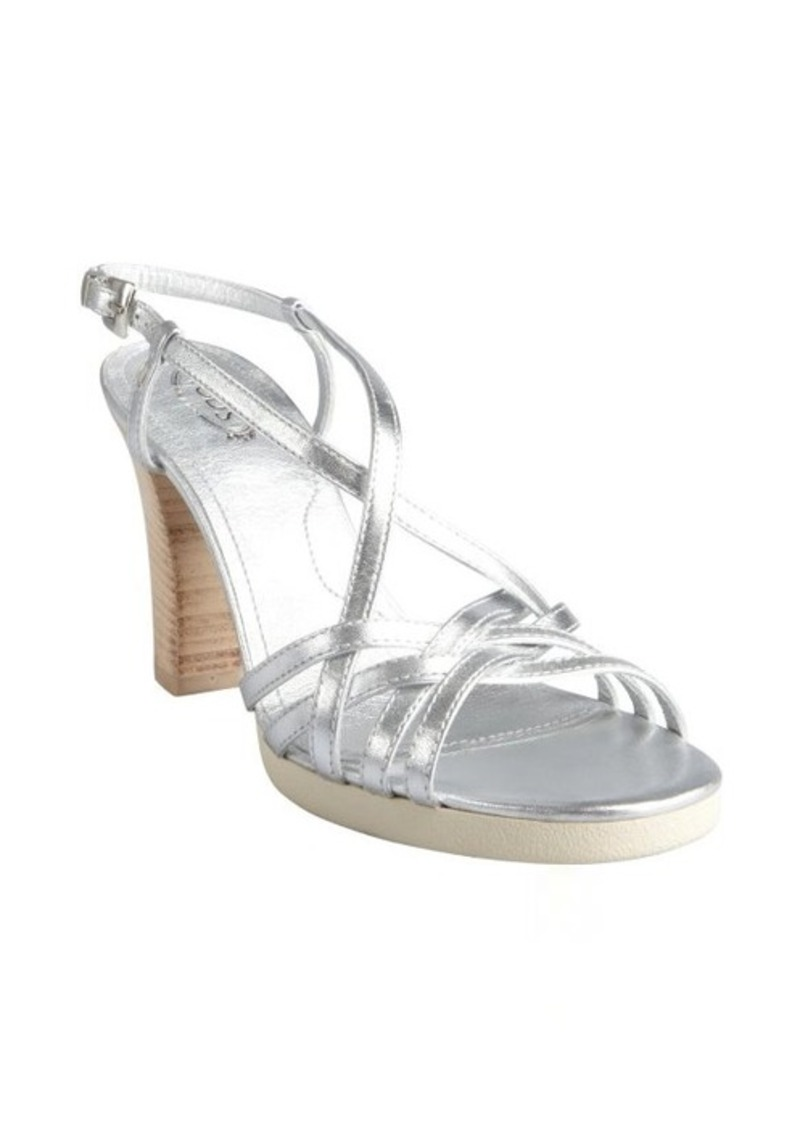 Tod's silver leather strappy stacked heel sandals