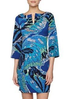 Laundry By Design Abstract Butterfly Print Split-Neck Dress, Bermuda Blue
