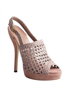 Gucci rose and lavender basket weave leather platforms