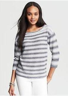 Textured Stripe Drop-Shoulder Pullover