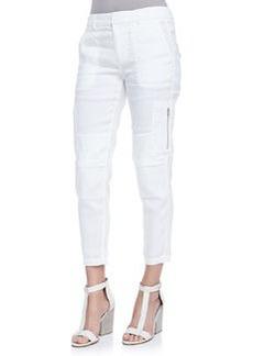 Cropped Linen-Blend Cargo Pants   Cropped Linen-Blend Cargo Pants