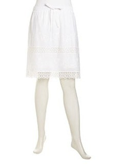 Laundry by Shelli Segal Floral Crochet-Inset Voile Skirt, Optic White