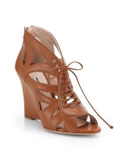 Miu Miu Leather Lace-Up Wedge Sandals