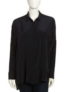Paper Denim & Cloth Oversized Silk Blouse, Black