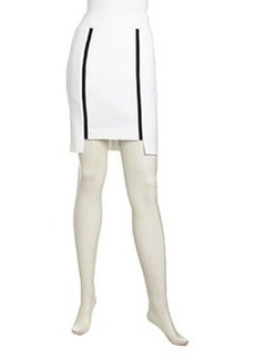 Nicole Miller Sporty Notched Pique Skirt, White