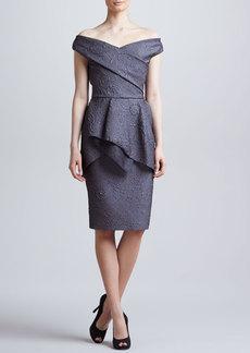 Lela Rose Off-the-Shoulder Flounce Dress, Charcoal
