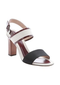Celine beige and maroon leather trimmed canvas slingback sandals