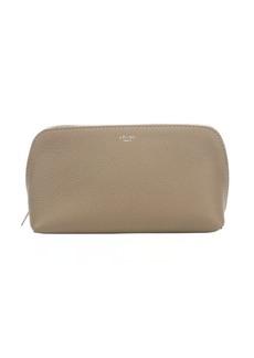 Celine beige calfskin cosmetic zip pouch